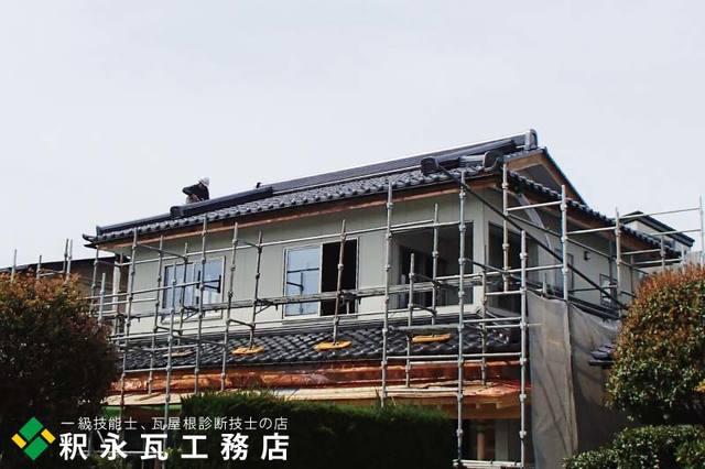 入母屋下り棟瓦屋根工事、富山市新築2.jpg