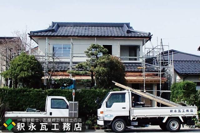 入母屋下り棟瓦屋根工事、富山市新築5.jpg