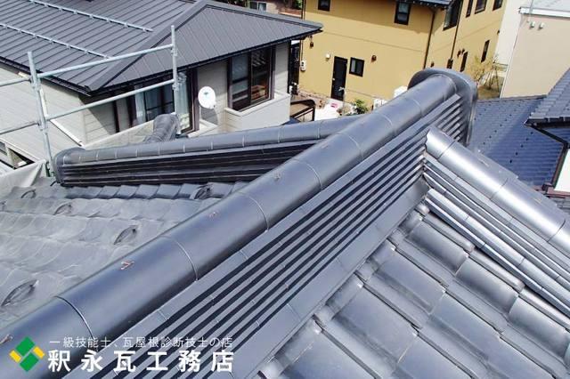 入母屋下り棟瓦屋根工事、富山市新築7.jpg