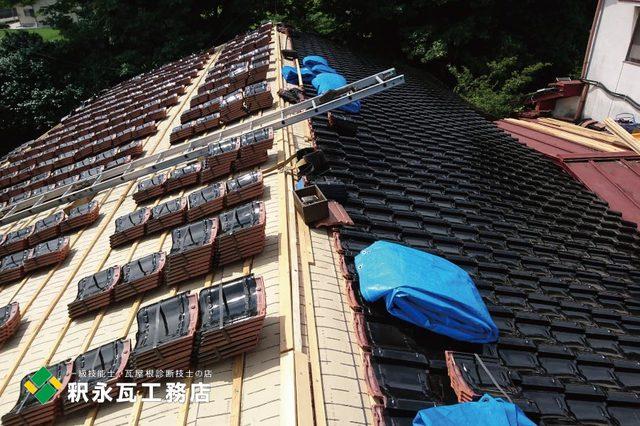富山市屋根リフォーム工事、防災瓦葺き.jpg
